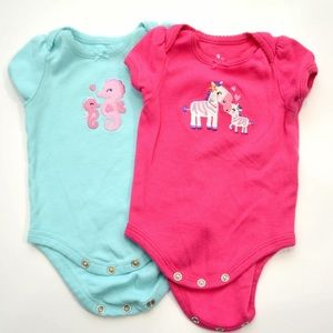 Small Wonders Newborn One Piece Girls  2 Piece Lot